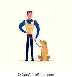 Officer of traffic police in uniform with high visibility vest standing with service dog, policeman character at work vector Illustration