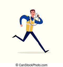 Officer of traffic police in uniform with high visibility vest talking on his radio and running, policeman character at work vector Illustration