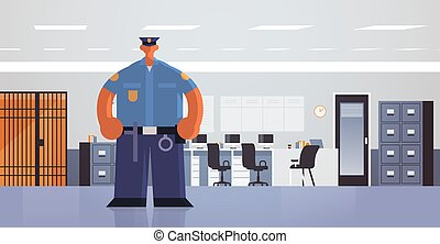 officer standing pose policeman in uniform security...
