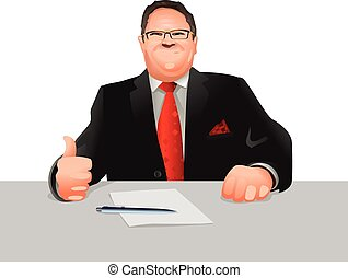 Official at workplace - Vector illustration of a official at...