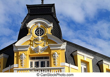 Official building in Punta Arenas with the Strait of...