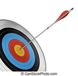 official competition target with a red arrow hitting the center. Angle of page, 3d render isolated over white background.