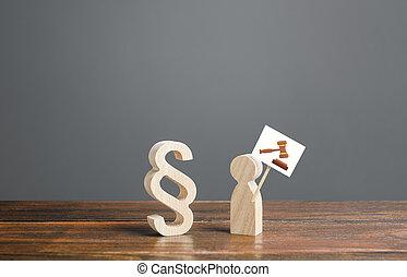 official., criminel, paragraphe, ou, contre, services, judiciaire, marteau, corrompu, justice, assistance, signe., symbole, marteau, dessin, juge, system., procès, légal, avocats, homme, appeler