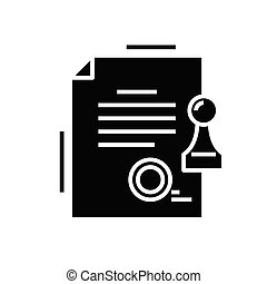 Official document black icon, concept illustration, vector flat symbol, glyph sign.