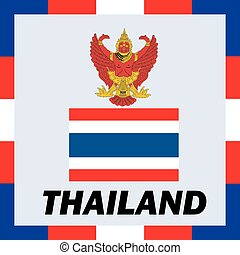 Official ensigns, flag and coat of arm of Thailand