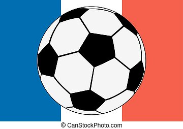Official flag of France and soccer ball