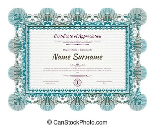 Official green blue guilloche border for certificate. Vector illustration.