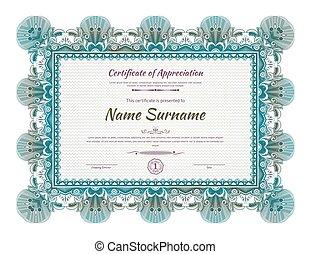 Official green blue guilloche border for certificate. Vector illustration.