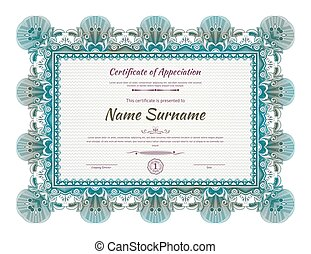 Official green guilloche border for certificate. Vector illustration.