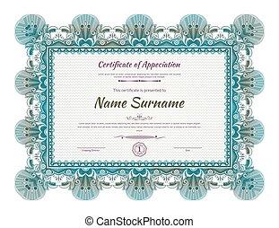 Official green guilloche border for certificate. Vector illustration.
