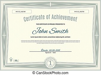 Official light green certificate of a4 format with green guilloche border. Official simple blank