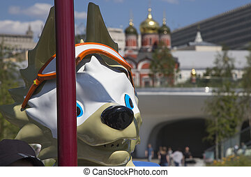 Official mascot of the 2018 FIFA World Cup in Russia-- wolf Zabivaka. Moscow