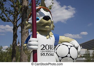 Official mascot of the 2018 FIFA World Cup in Russia-- wolf...