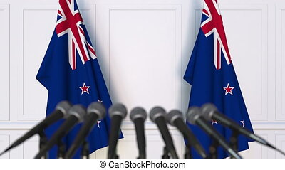 Official press conference with flags of New Zealand. 3D...