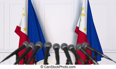 Official press conference with flags of Philippines. 3D...