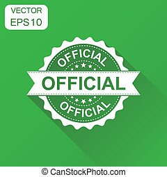 Official rubber stamp icon. Business concept official stamp pictogram. Vector illustration on green background with long shadow.