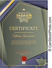 Official vector certificate with dark green, brown triangle design elements. Gold blue emblem with red ribbon, gold text