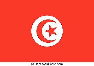 Official vector flag of Tunisia . Tunisian Republic .