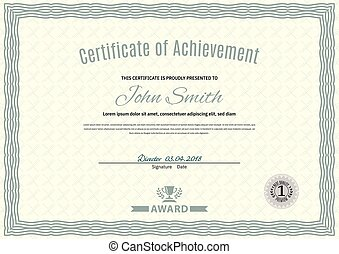 Official white certificate of a4 format with green guilloche border. Official simple blank