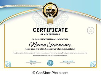 Official white certificate with blue triangle design elements. Business clean modern design
