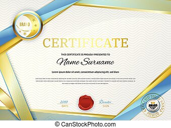Official white certificate with gold blue ribbons. Business clean modern design