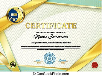 Official white certificate with gold greenribbons. Business clean modern design
