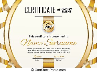 Official white certificate with gold line. Business clean modern design. Gold emblem