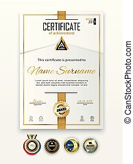 Official white certificate with gold line. Business clean modern design. Gold emblem.set.