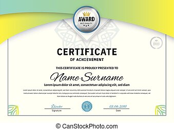 Official white certificate with green triangle design elements. Business clean modern design