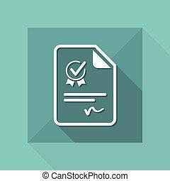 officiel, certificat, document, -, vecteur, toile, icône