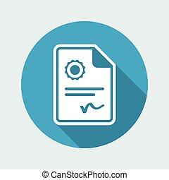 officiel, certificat, -, vecteur, toile, icône