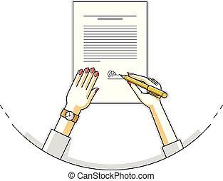 officiel, disposition, chef, directeur, papier, signes,...