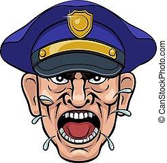 officier, police, dessin animé, fâché, policier