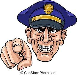 officier, police, moyenne, ponting, policier, dessin animé