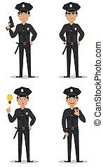 officier, police, policier