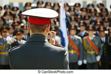 officier, snap-shooting, militaire