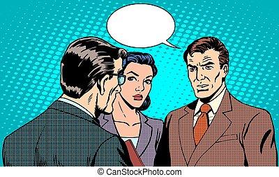 officina, affari, donna d'affari, concetto, uomo affari