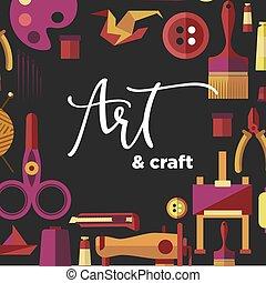 officina, arte, manifesto, mestiere, fatto mano, vettore, bricolage, artigianato, classi