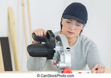 officina, giovane, tagliere, femmina, carpentiere, adulto