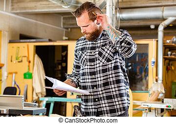 officina, lavoro, carpentiere, dall'aspetto, pianificazione,...