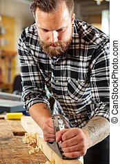 officina, lavoro, carpentiere, legno, planer, asse