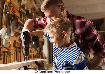 officina, padre, trapano, lavorativo, figlio
