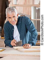 officina, taglio, legno, anziano, Sega, uomo