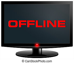 offline - Offline. Internet concept. PC screen isolated on...