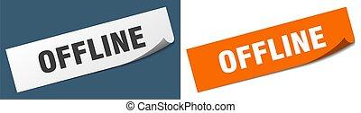 offline paper peeler sign set. offline sticker