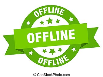 offline round ribbon isolated label. offline sign