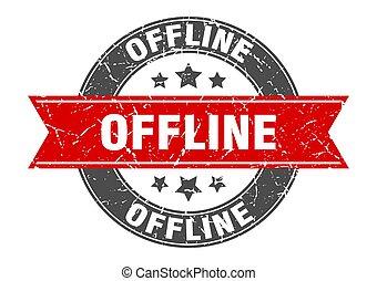 offline round stamp with ribbon. label sign - offline round ...