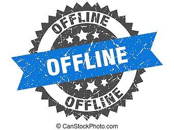 offline stamp. grunge round sign with ribbon - offline stamp...