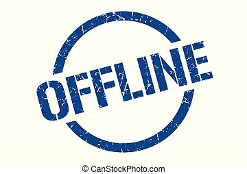 offline stamp - offline blue round stamp