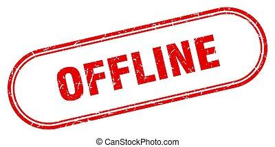 offline stamp. rounded grunge textured sign. Label - offline...